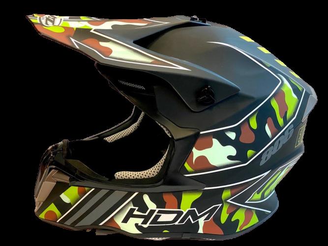 HDM  hjelm i mattsort/camu XL (61-62cm)