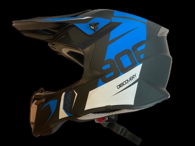 HDM  806 - hjelm i mattsort/blå  dekor XS (53-54cm)