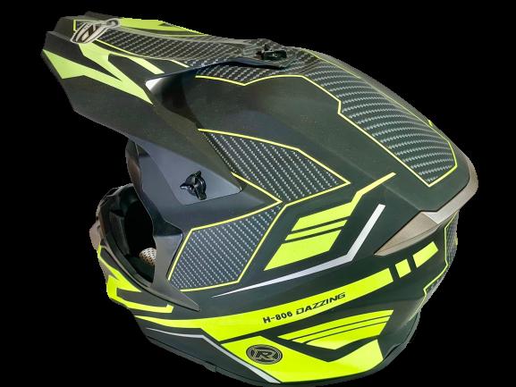 HDM  hjelm i mattsort/signalgul/carbonmønster S (55-56cm)