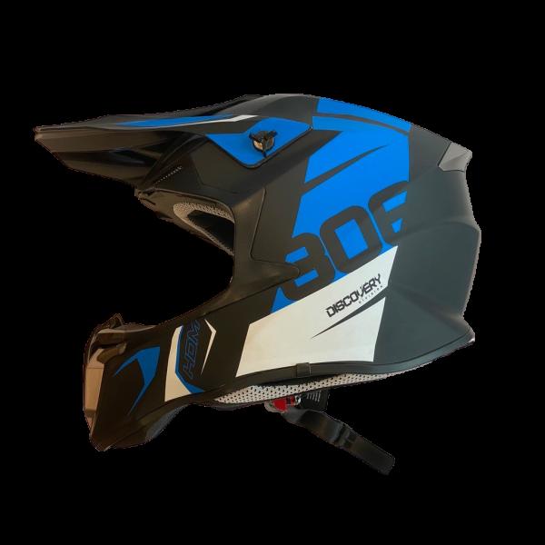 HDM  806 - hjelm i mattsort/blå  dekor M (57-58cm)