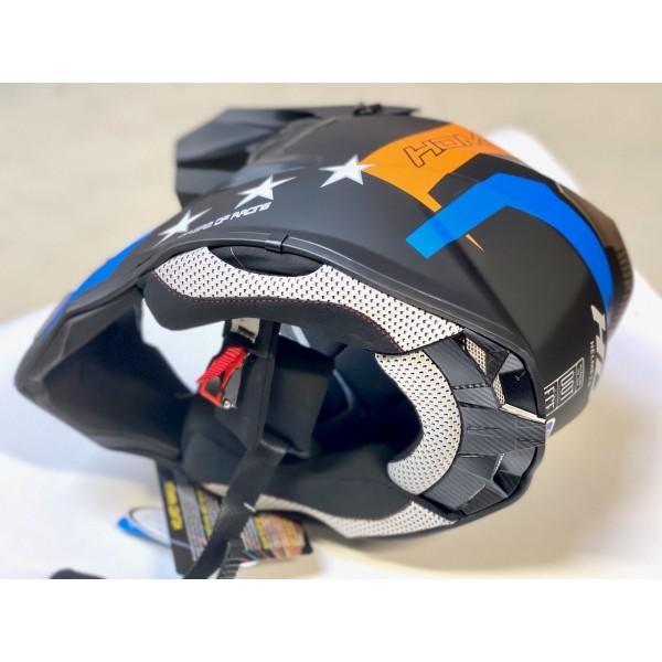HDM  hjelm i mattsvart/blå/orange XS (53-54cm)